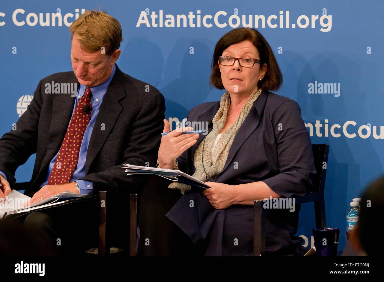 Sheila Smith, Senior Fellow per il Giappone studi, consiglio per le relazioni estere, parlando al Consiglio Atlantico Immagini Stock