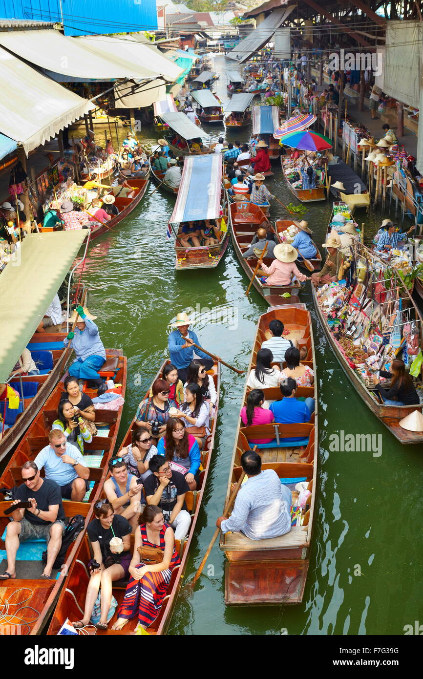 Thailandia Mercato Galleggiante di Damnoen Saduak vicino a Bangkok, Bangkok, Thailandia Immagini Stock
