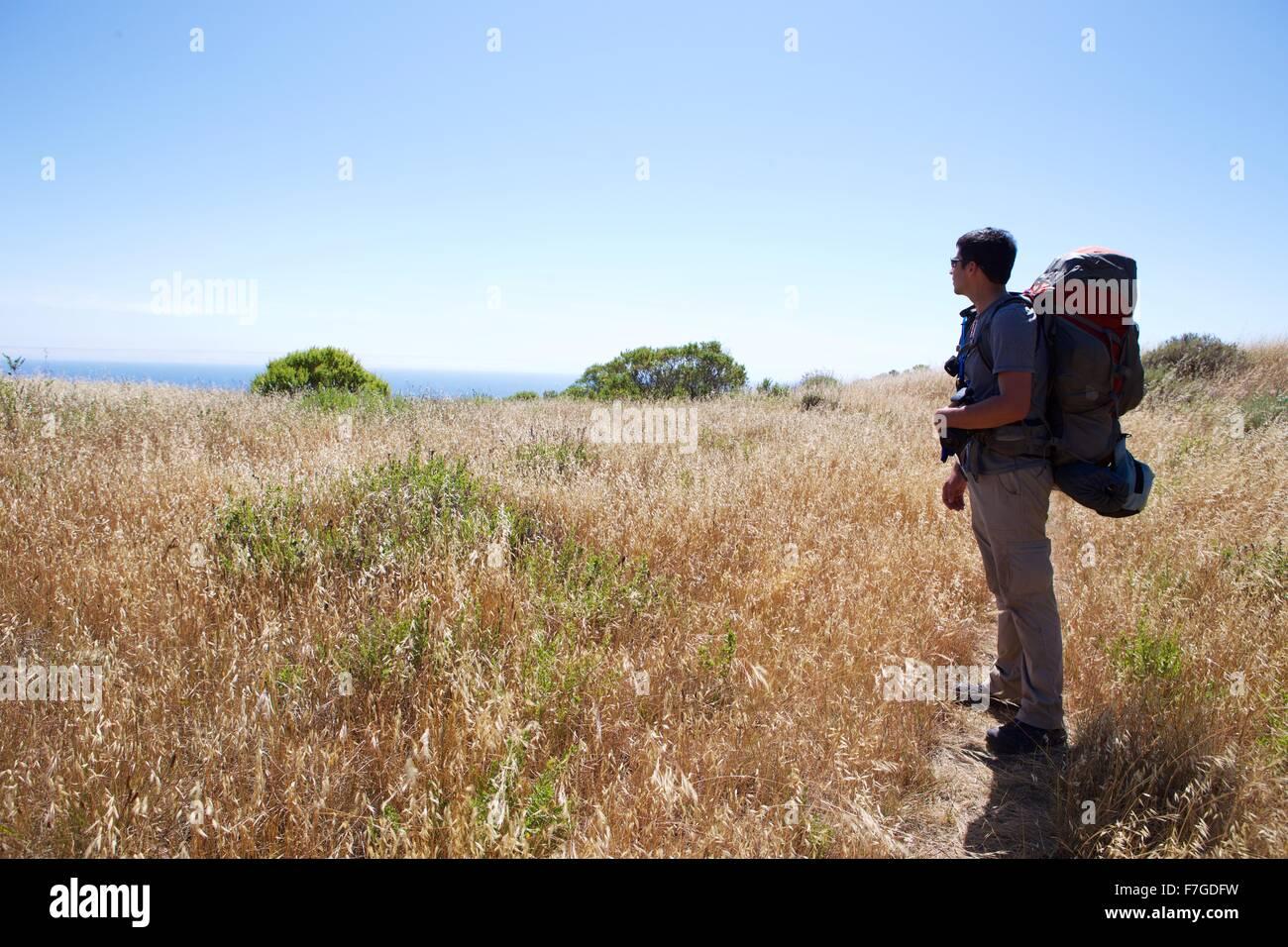 Con lo zaino in spalla in Silver Peak Wilderness del Big Sur, California Immagini Stock