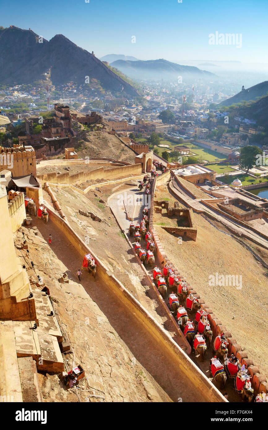 Gli elefanti che trasportano i turisti al forte di Amber a Jaipur, Rajasthan, India Immagini Stock