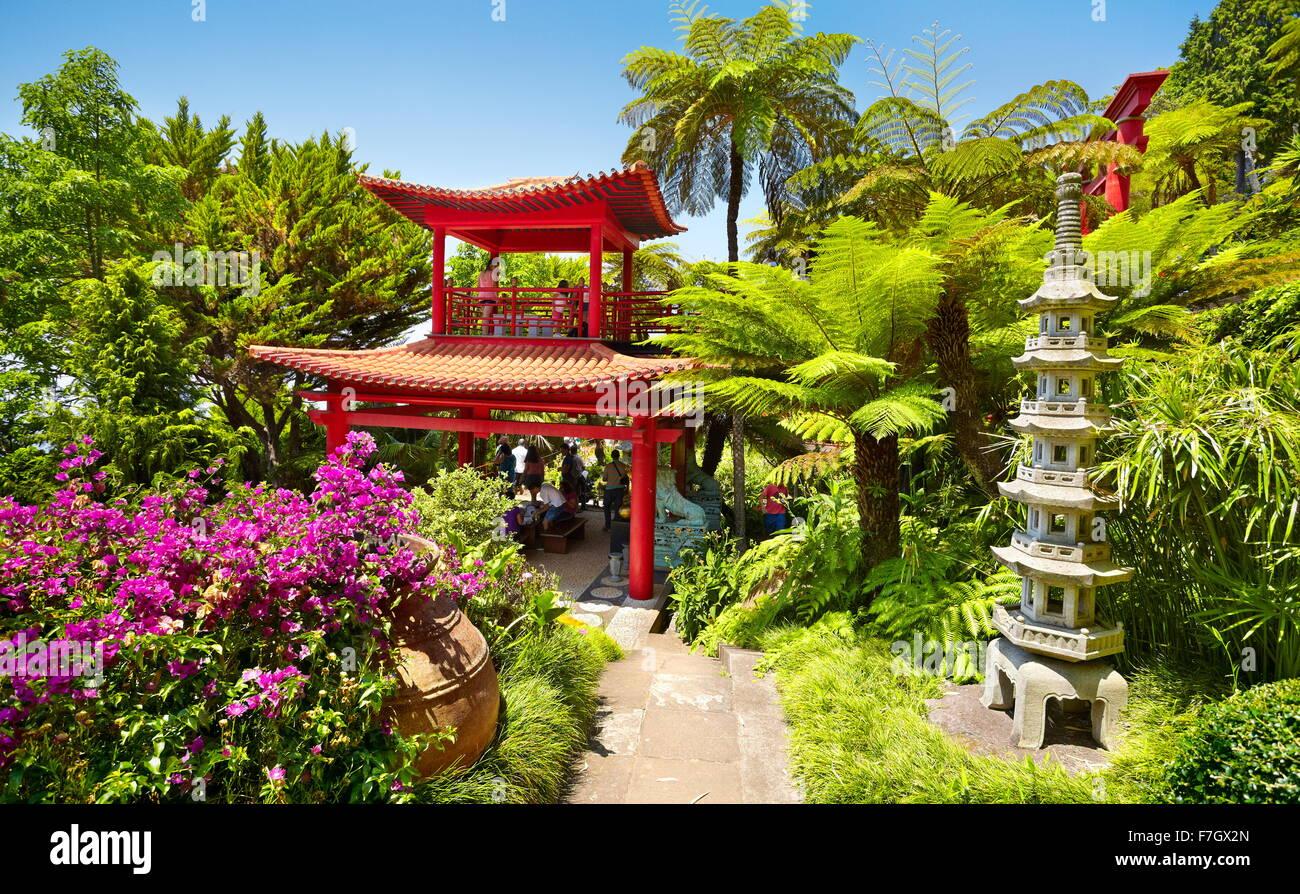 Monte Palace Tropical Garden (giardino Giapponese) - Monte, l'isola di Madeira, Portogallo Immagini Stock
