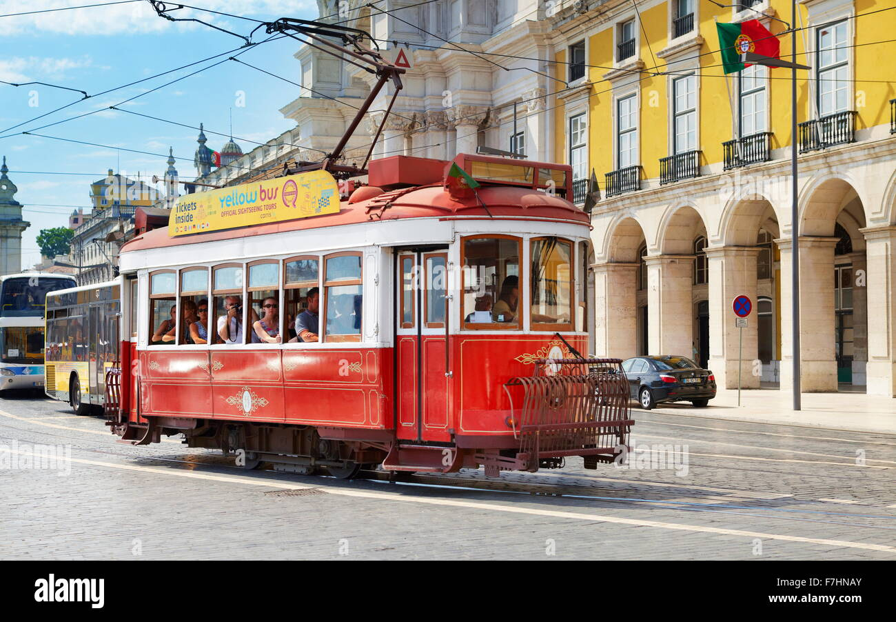 Tram di Lisbona, Portogallo Immagini Stock