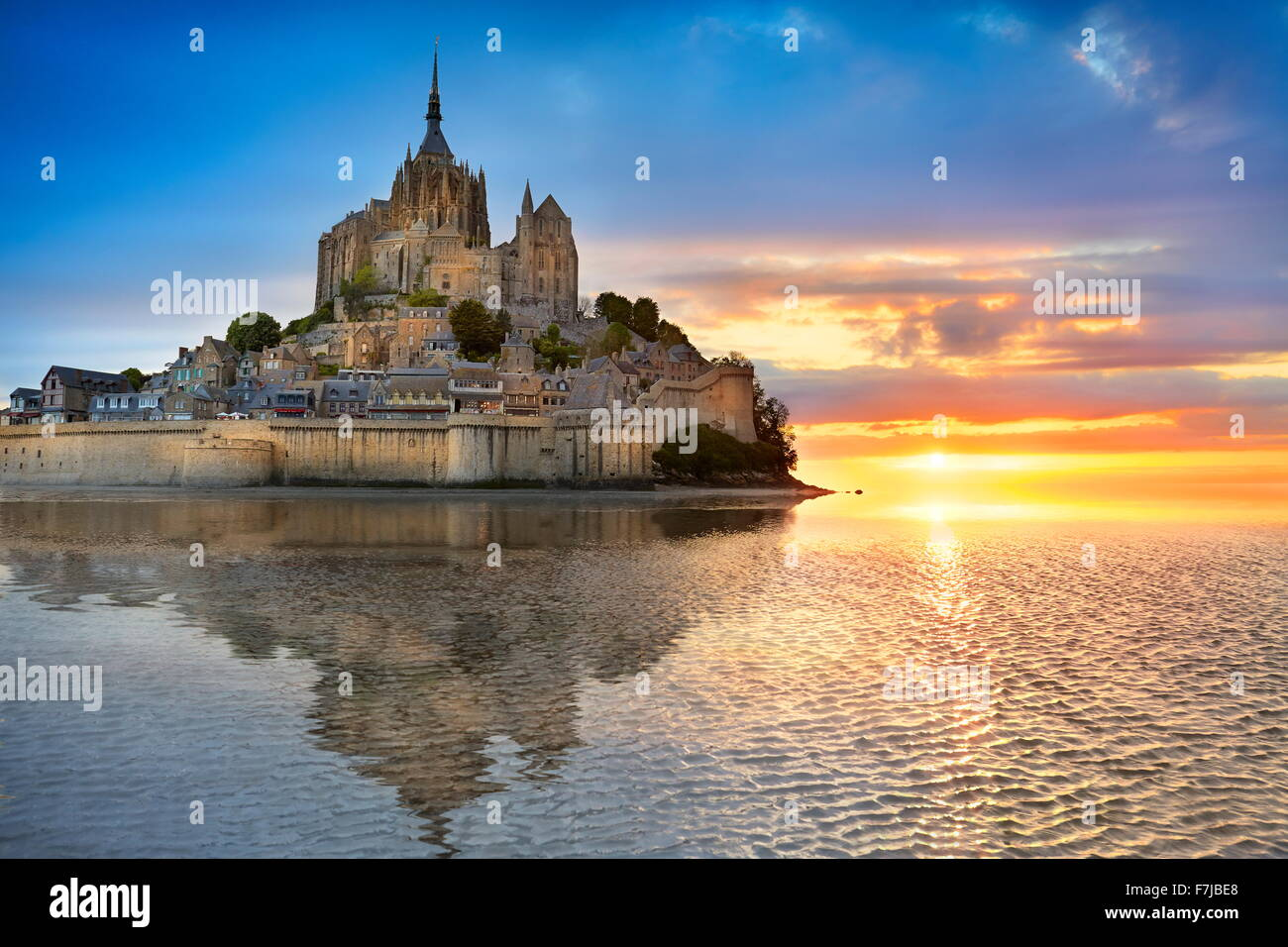Mont Saint Michel, in Normandia, Francia Immagini Stock