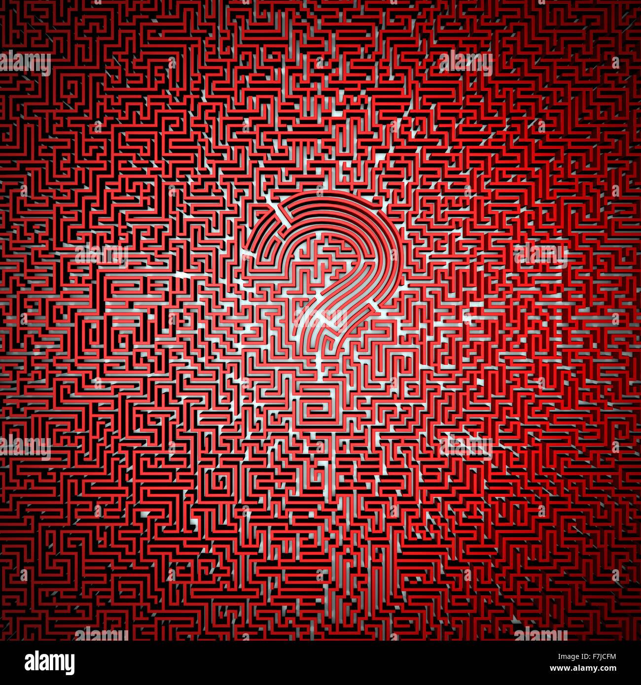 Ultimate questione maze / 3D render del labirinto gigante con un punto interrogativo in centro, facile da colorare Immagini Stock