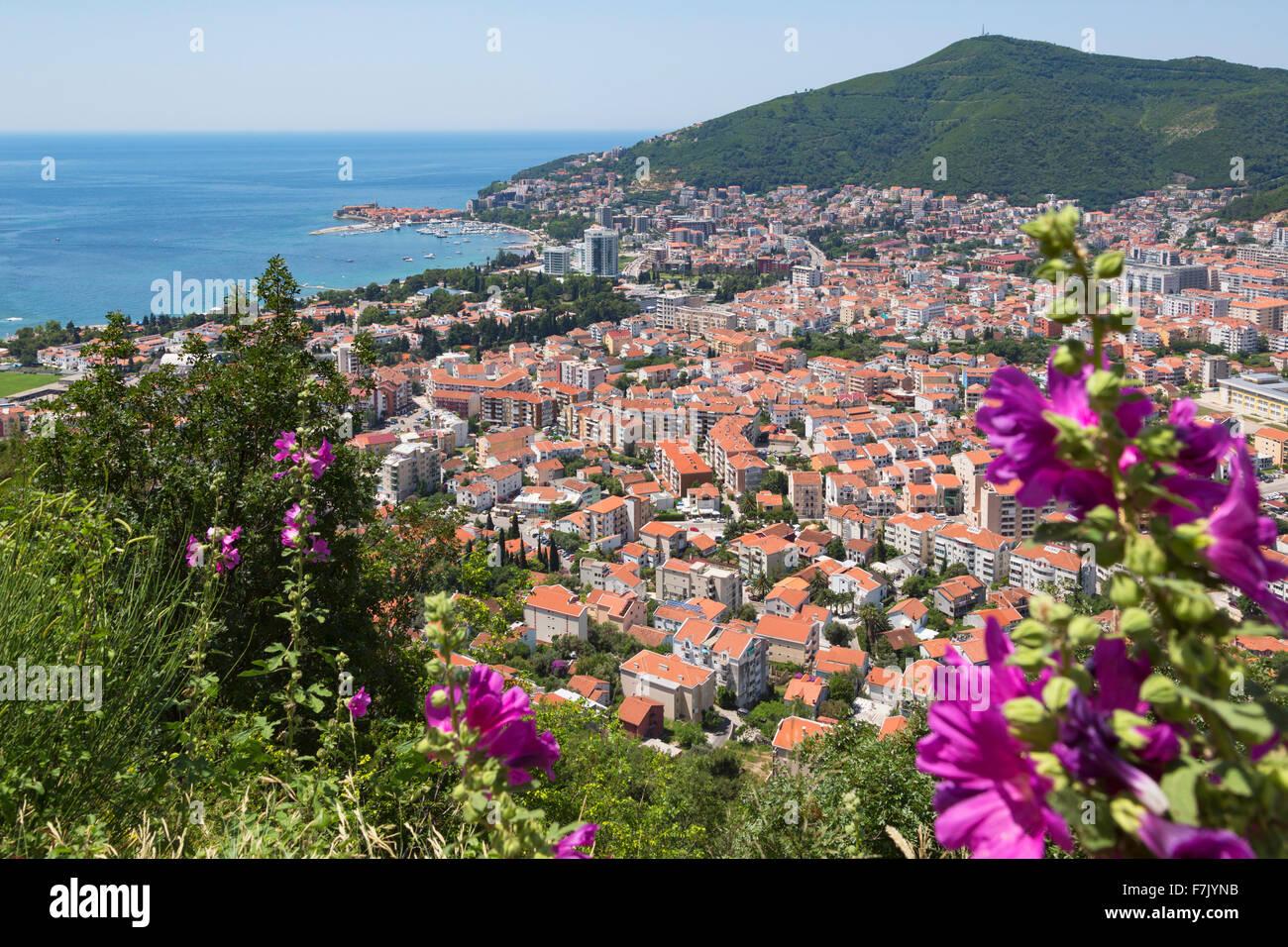 Budva, Montenegro. Vista complessiva. Immagini Stock