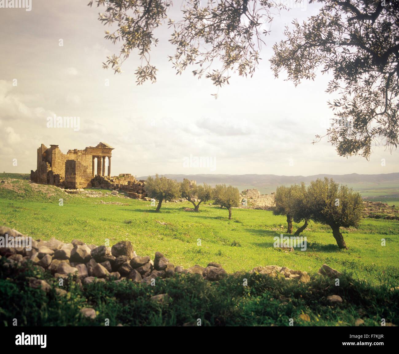 Rovine del tempio capitolino a Dougga. La Tunisia Immagini Stock