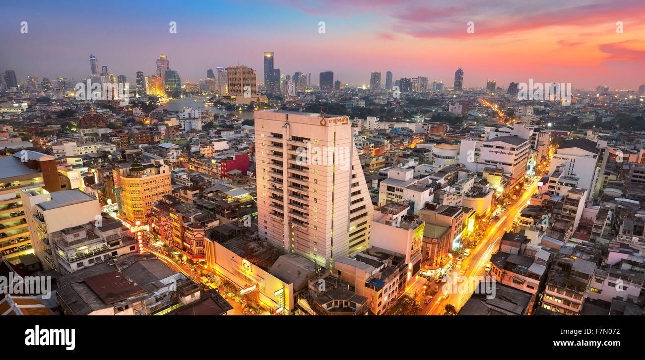 Thailandia - Bangkok cityscape al tramonto Immagini Stock
