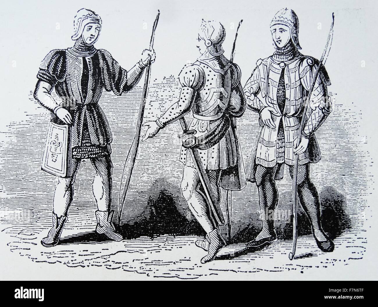 Longbowmen del XIV secolo.. Immagini Stock
