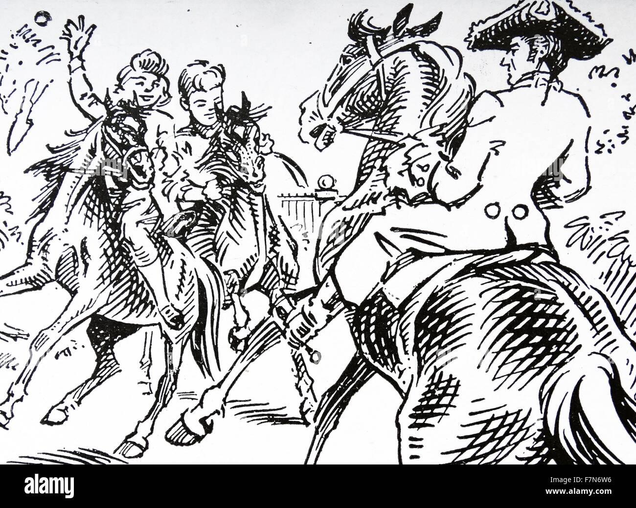 Xviii secolo highwayman e vittima Immagini Stock