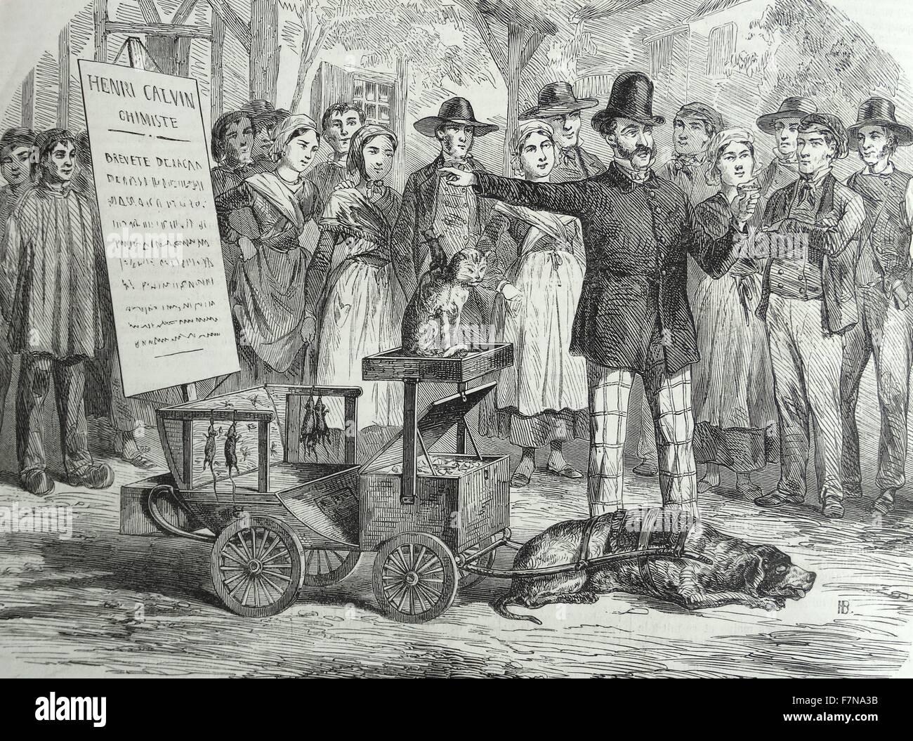 Incisione raffigurante un mercante promuovendo il suo gatto, killer dei ratti. Datata 1870 Immagini Stock
