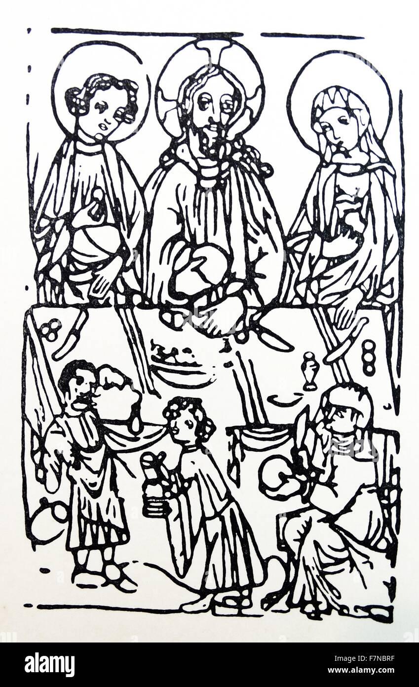 Materiale tessile stampato da una xilografia, austriaca del XIV secolo Immagini Stock