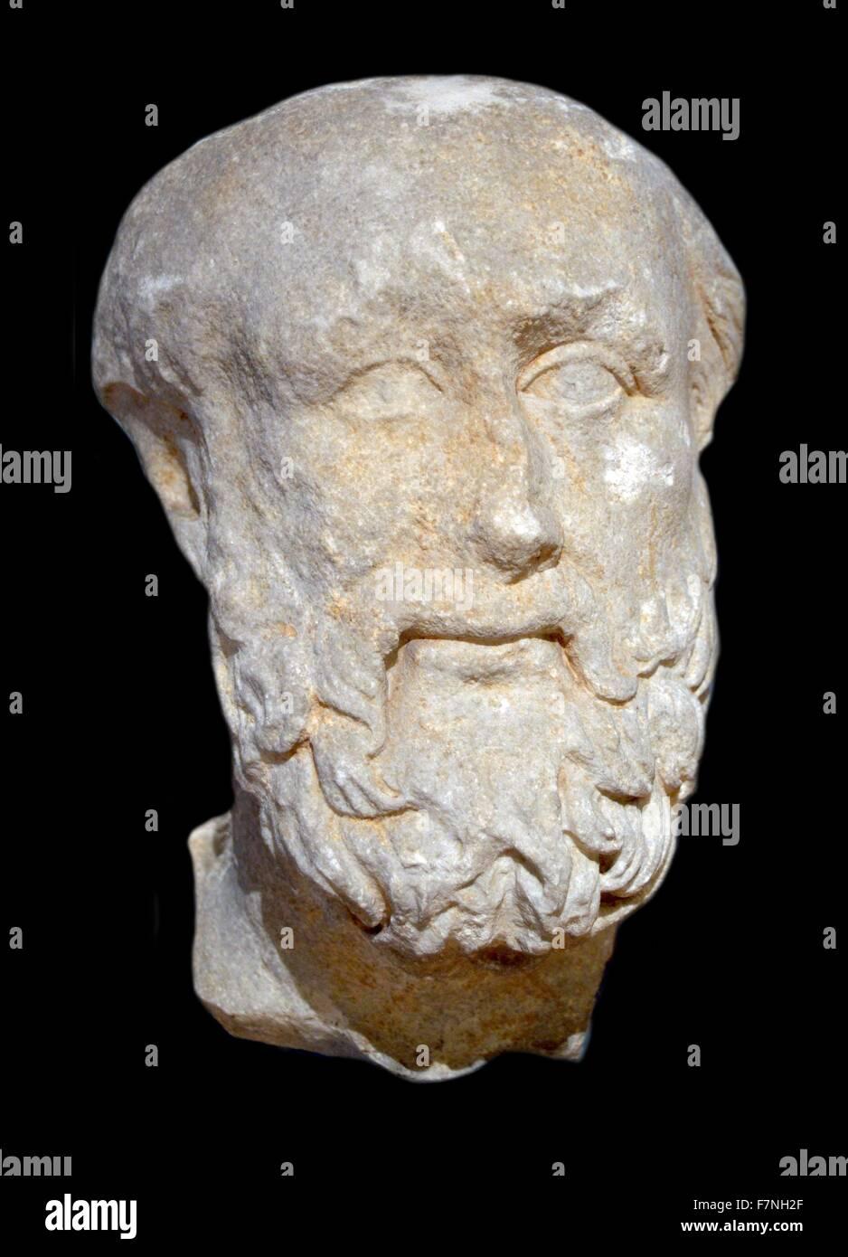 Busto in marmo di un misterioso poeta greco. Datata iv secolo A.C. Foto Stock