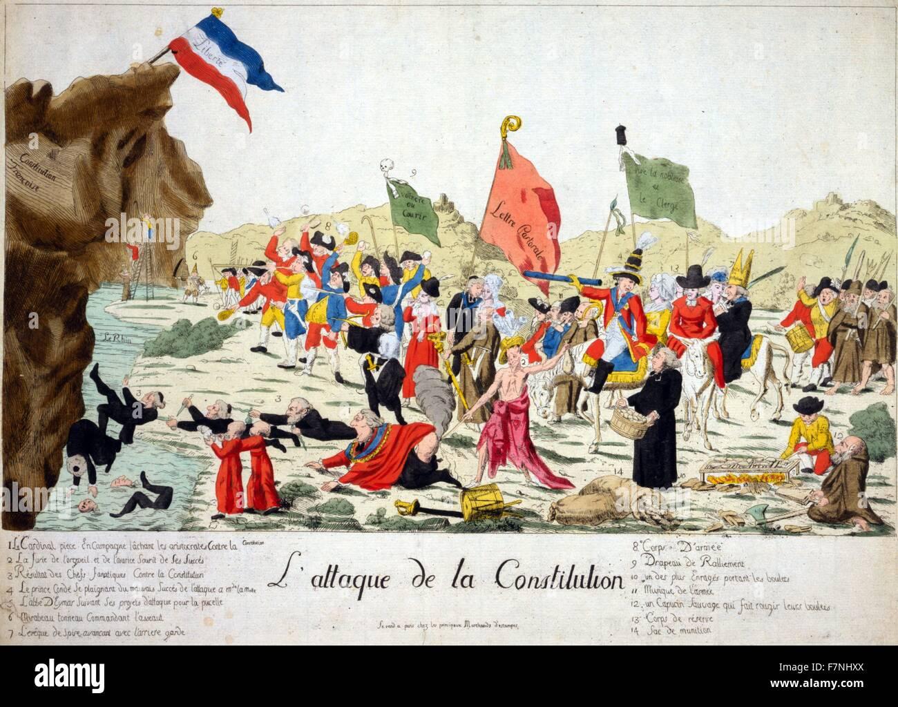 1792. Cartone animato che mostra il clero, nobiltà, e fuggitivo controrivoluzionari, Immagini Stock