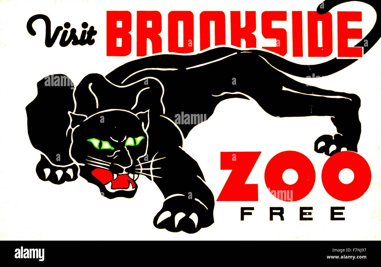 Visitate lo Zoo di Brookside libero. Progetto federale di arte poster 1937 Immagini Stock