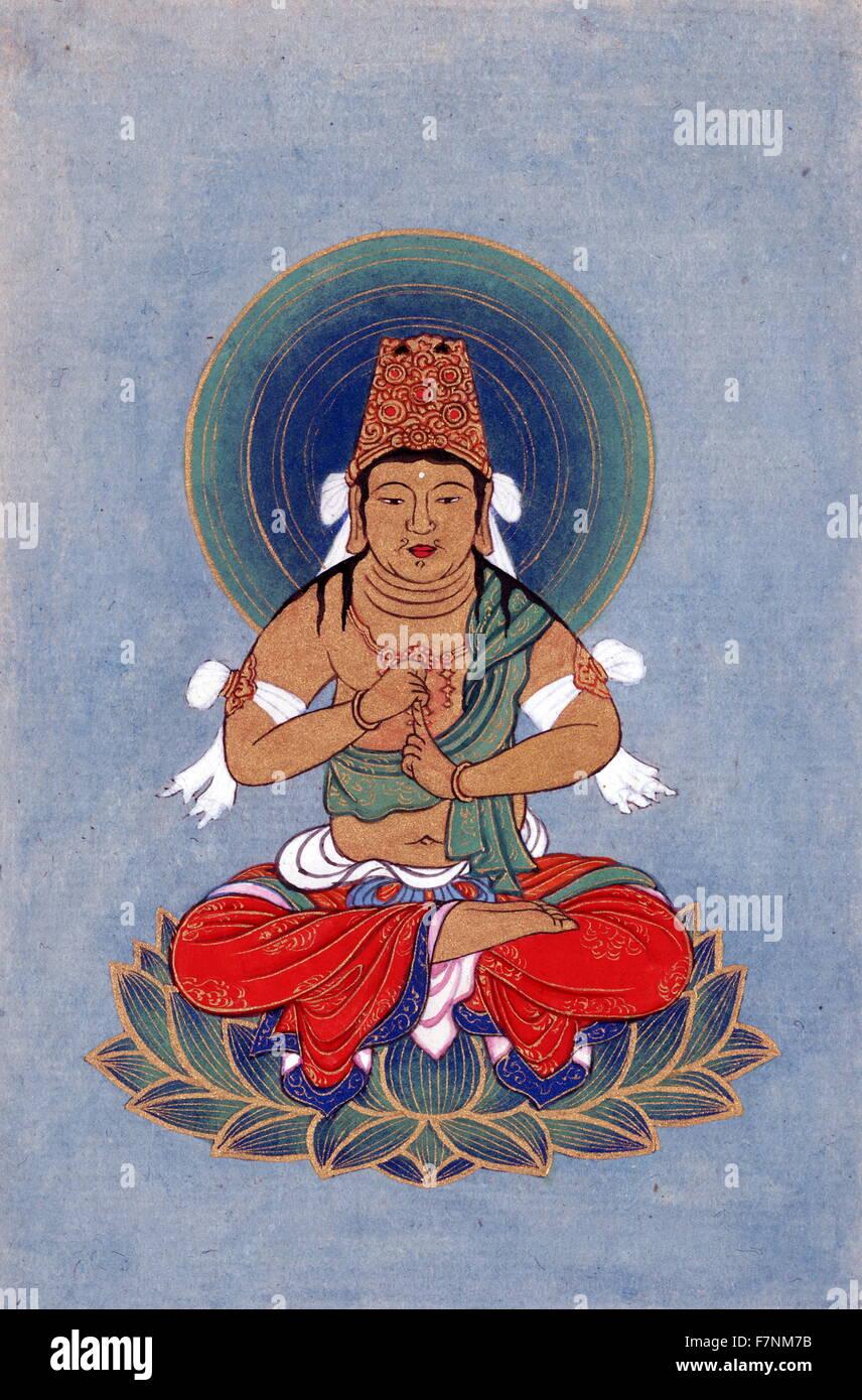 Figura religiosa, eventualmente Buddha, seduto su un loto, rivolto verso la parte anteriore, con blu-verde alo dietro Immagini Stock