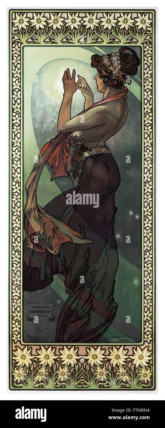 Poster intitolato 'Stelle: La Luna' da Alphonse Mucha Immagini Stock