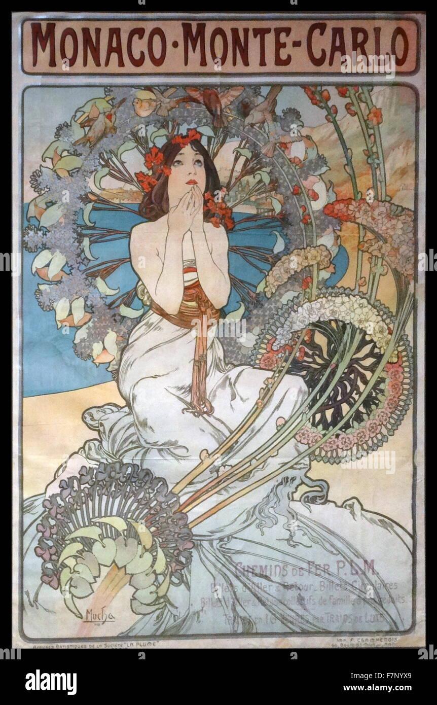 Il Principato di Monaco. Monte Carlo da Alphonse-Marie Mucha (1860-1939) Repubblica ceca Art Nouveau pittore e artista Immagini Stock