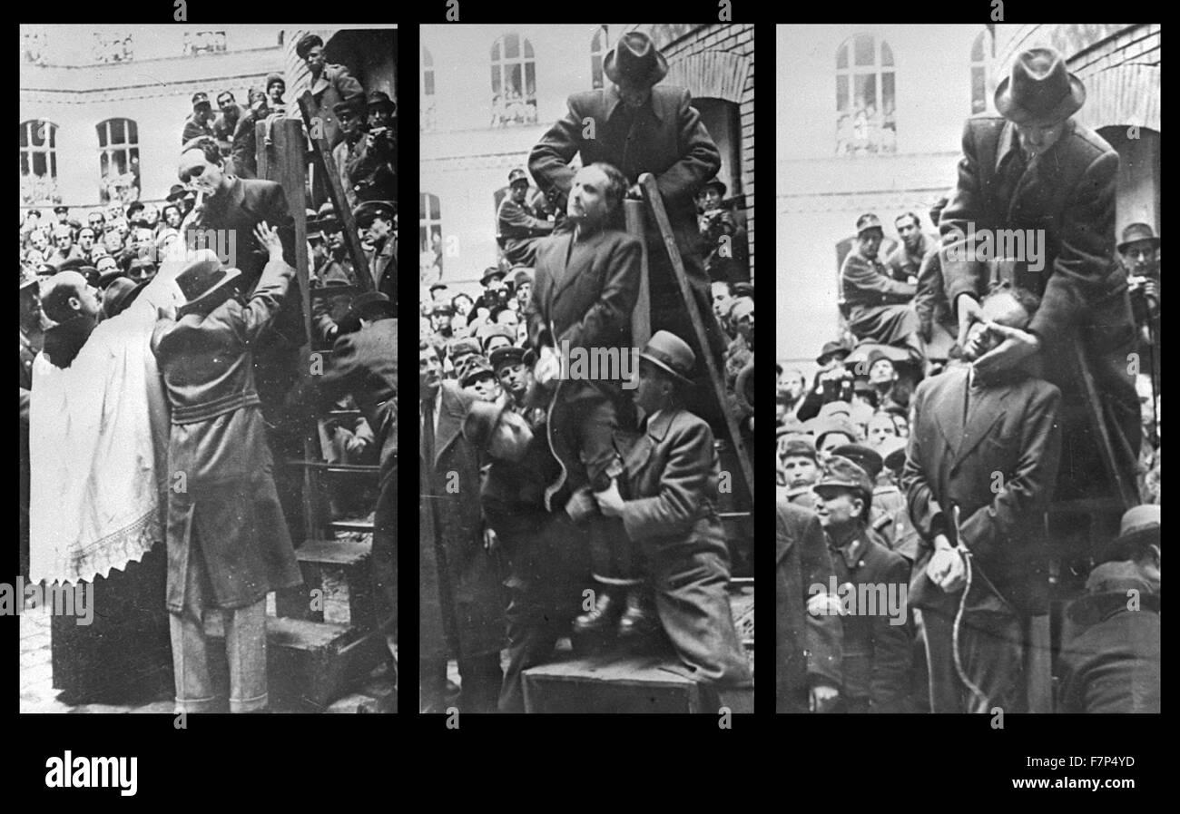 Fotografia del Primo Ministro ungherese Ferenc Szalasi ricevere gli ultimi riti prima di essere appeso come un collaboratore Foto Stock