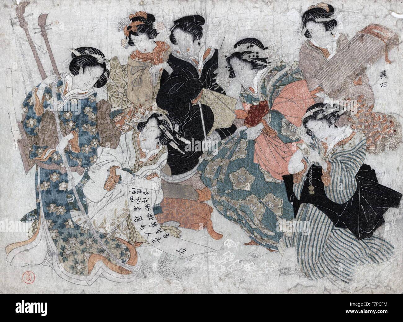 Sette donne raffigurante i sette saggi del boschetto di bambù Immagini Stock