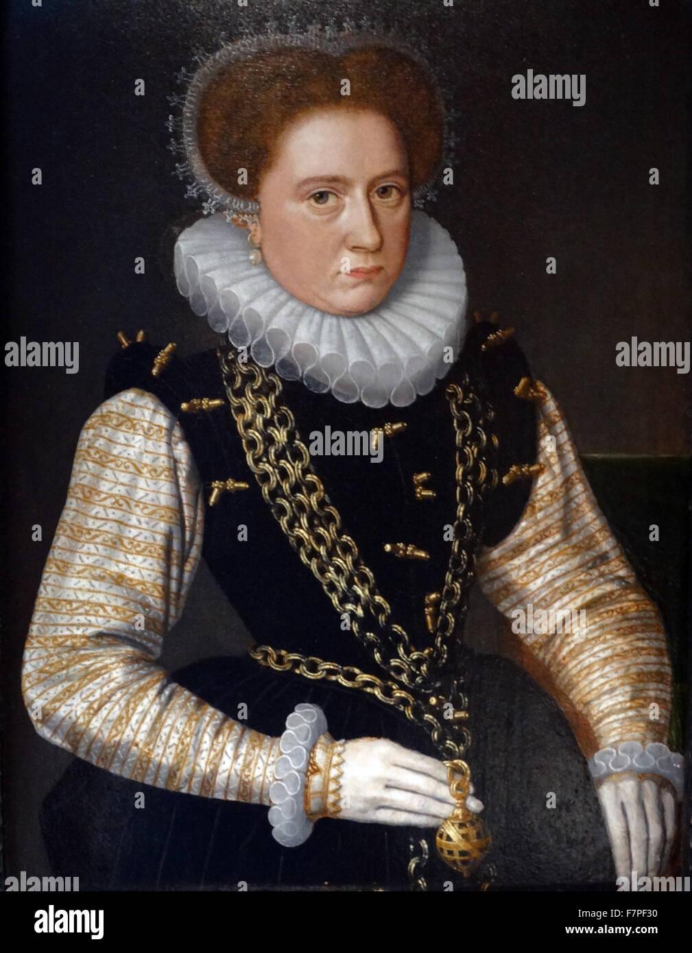 Ritratto di una dama incognita, in spagnolo del Costume. Olio su pannello), 1580s, scuola olandese Immagini Stock