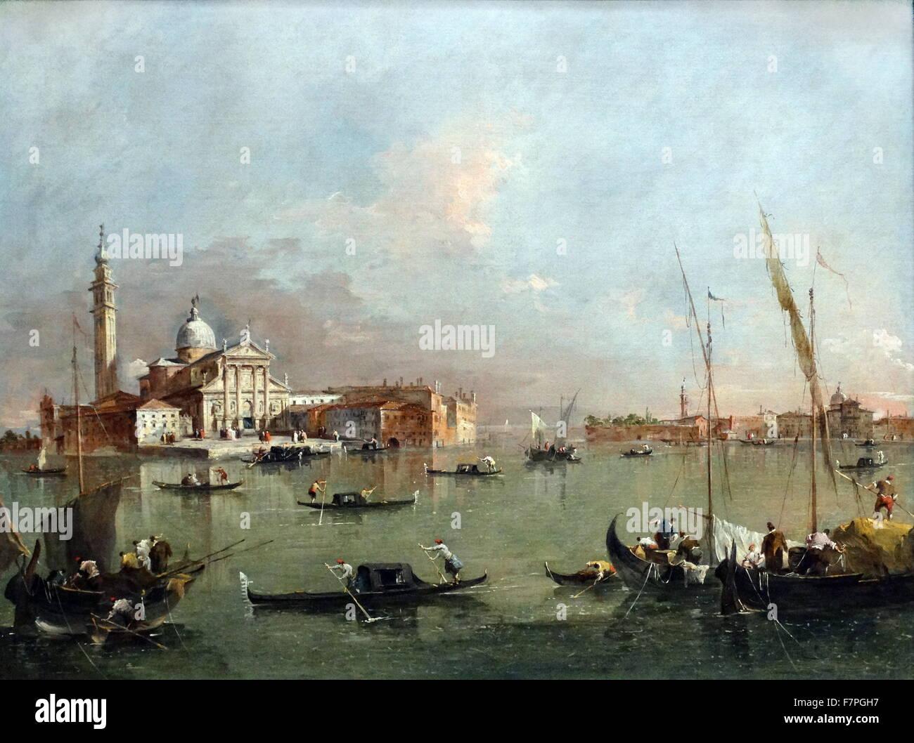 Venezia: San Giorgio Maggiore con la Giudecca e le Zattere da Francesco Guardi (1712-1793), 1784. Dall'Italia, Immagini Stock