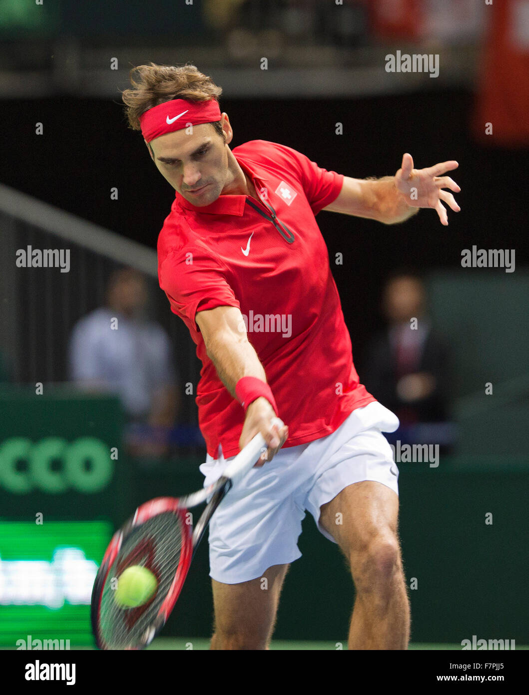 Switserland, Genève, Settembre 18, 2015, Tennis, Davis Cup, Switserland-Netherlands, Roger Federer (SUI) Foto: Immagini Stock