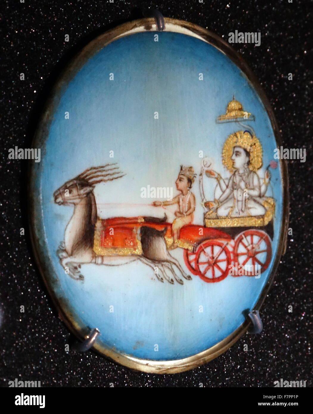 Divinità indù, Chandra il dio Luna. Da una collezione di roundels della divinità Indù. Gouache Immagini Stock