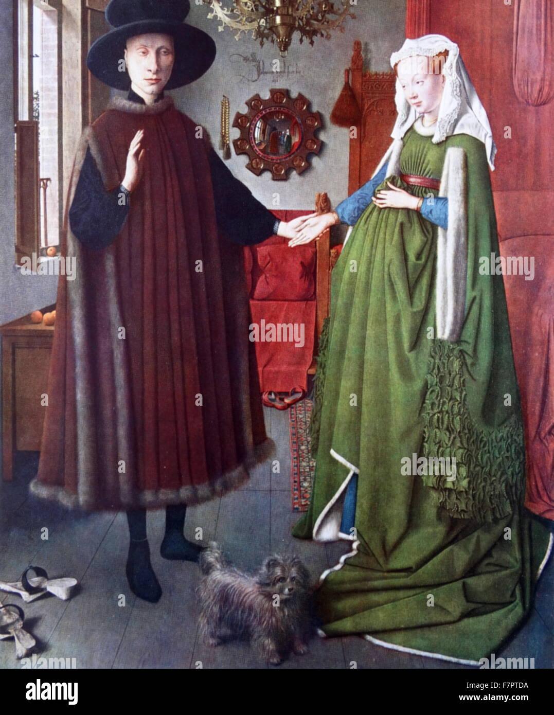 Il Ritratto di Arnolfini;pittura a olio su pannello in legno di quercia datato 1434;dall'inizio Netherlandish Immagini Stock