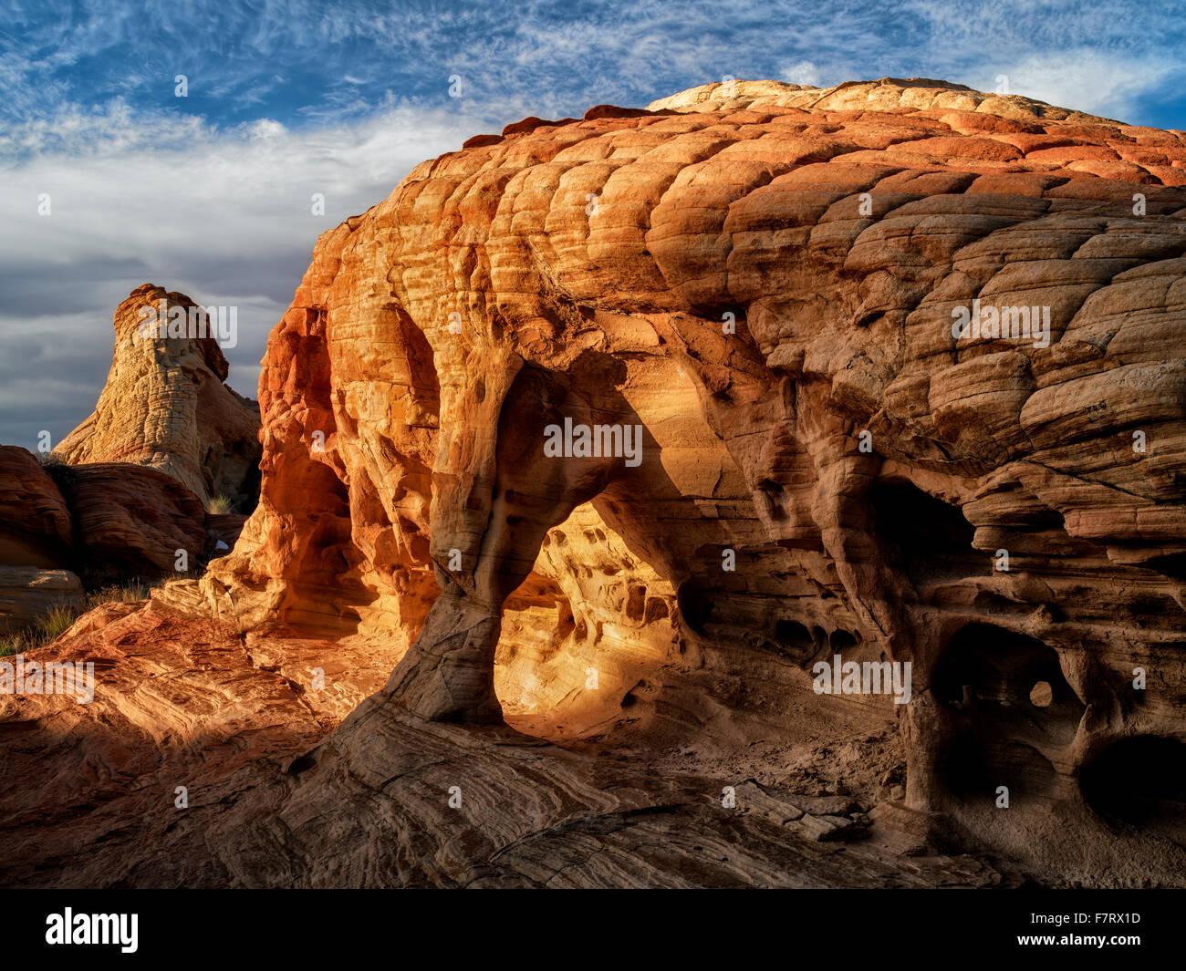 Formazione di roccia. La Valle del Fuoco del parco statale, Nevada Immagini Stock
