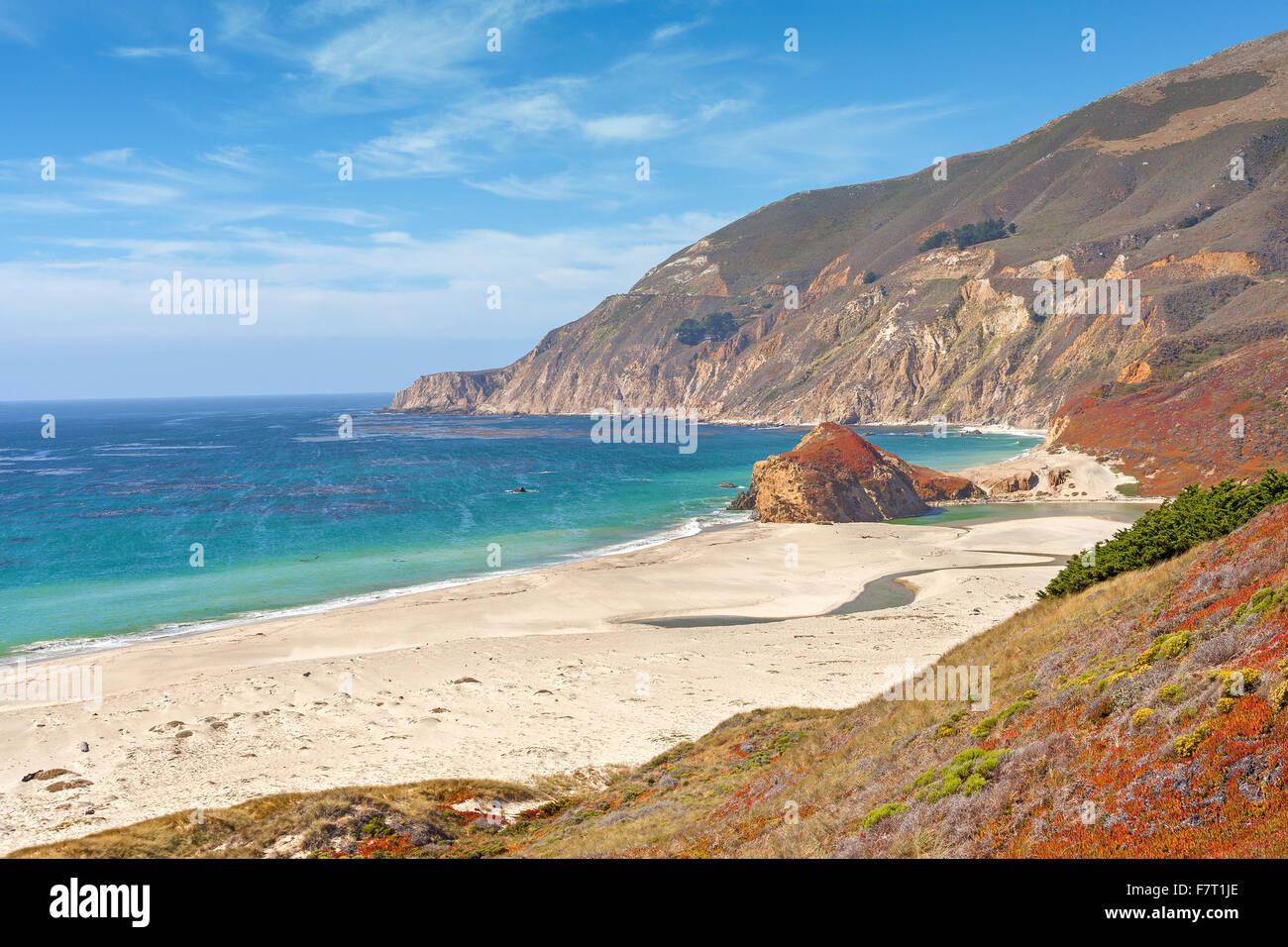 Costa californiana lungo la Pacific Coast Highway, STATI UNITI D'AMERICA. Immagini Stock