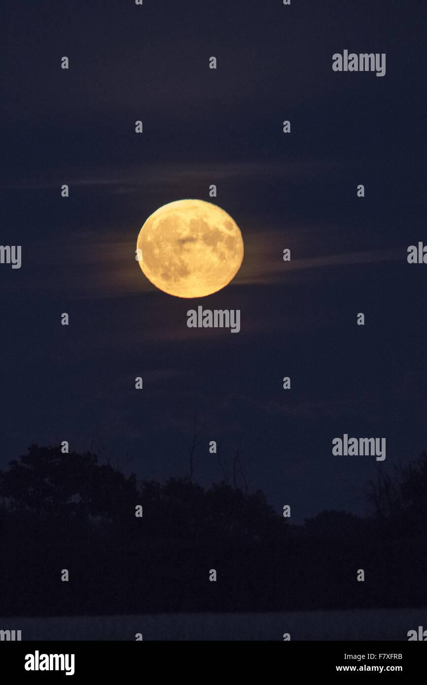 Rare Eclissi lunare totale di un Supermoon la sera del 27 settembre 2015. Immagini Stock