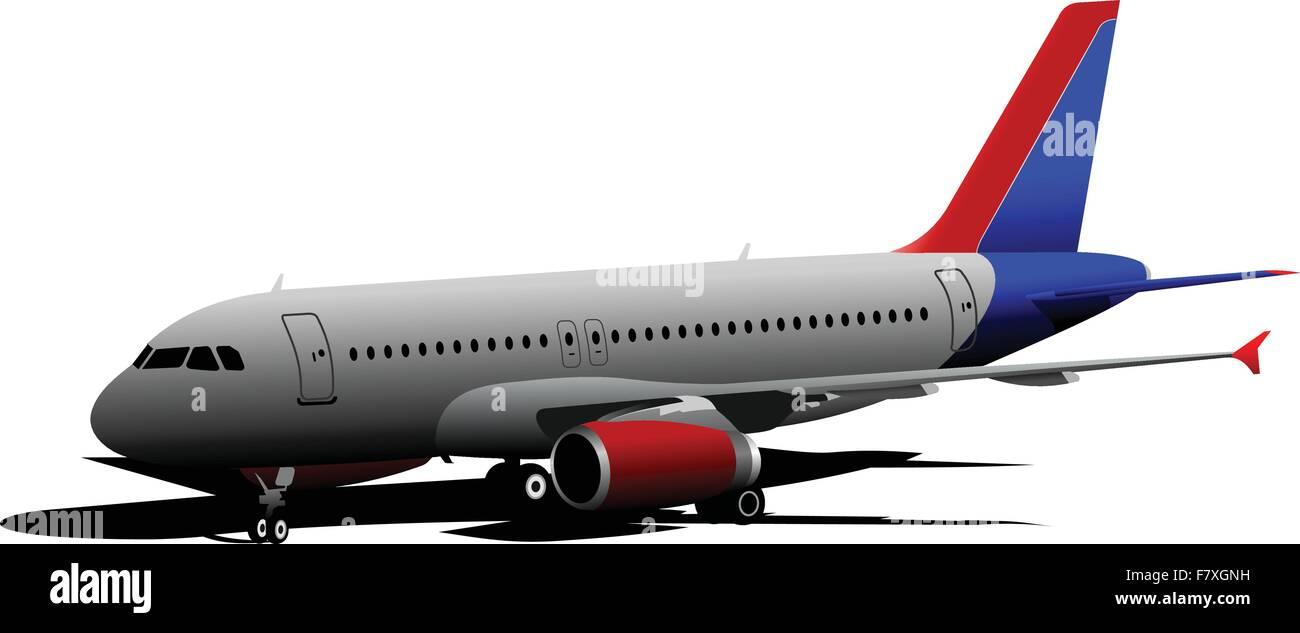 In aereo sul campo d'aviazione. Illustrazione Vettoriale Immagini Stock