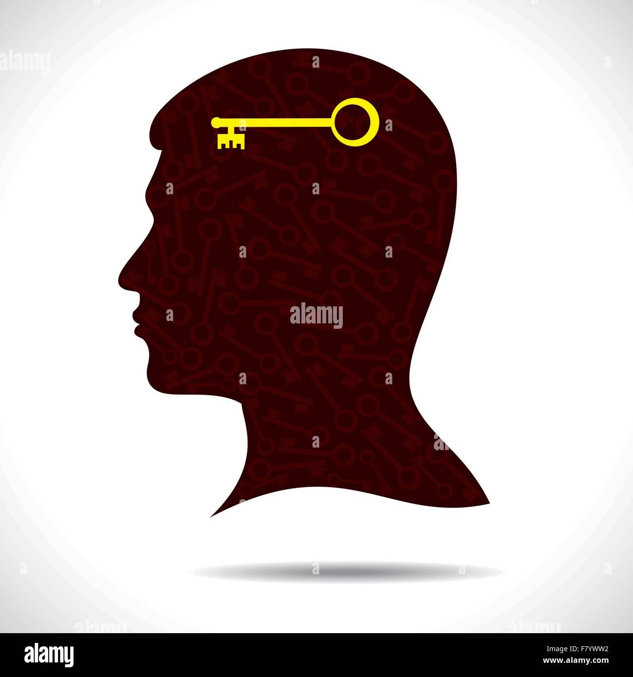 La chiave del successo in testa umana Immagini Stock