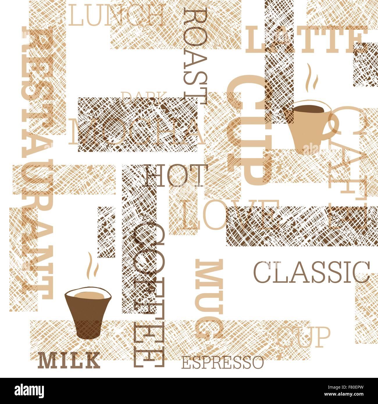 Il caffè a tema Pattern senza giunture Immagini Stock