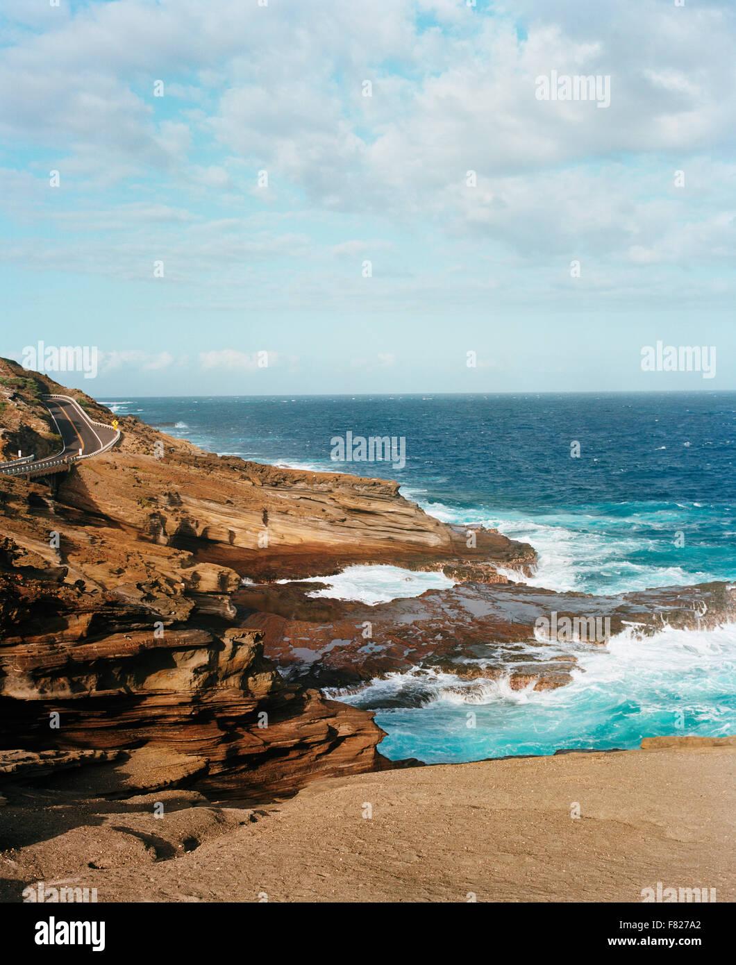 Il paesaggio costiero in Hawaii Immagini Stock