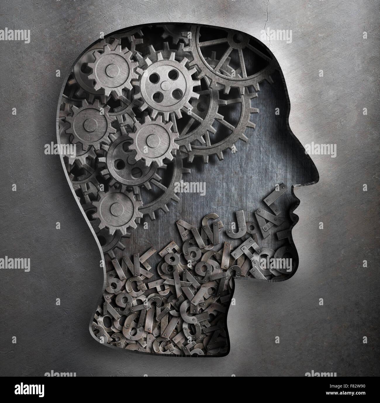 Il cervello del modello di lavoro. Pensare, psicologia, creatività, concetto di linguaggio. Immagini Stock