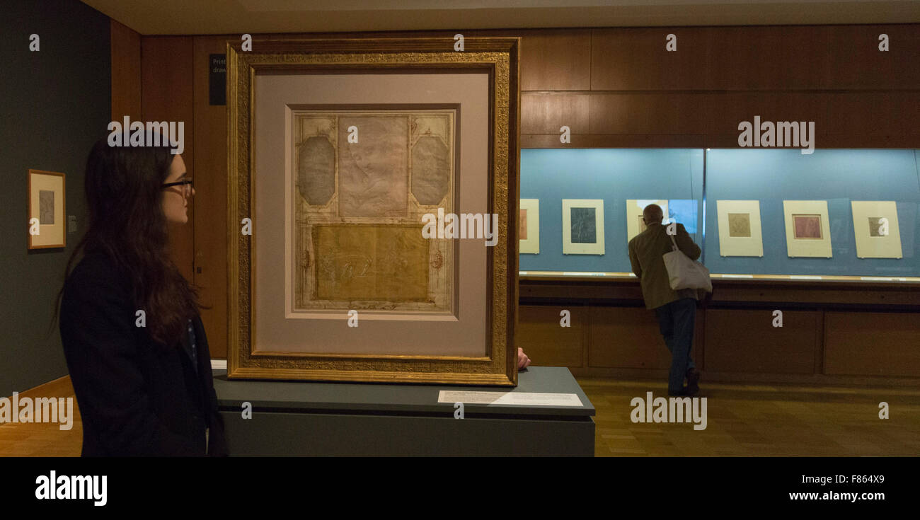 Pagina da Giorgio Vasari il Libro de' Disegni. La mostra di disegno in argento e oro: Leonardo a Jasper Johns Immagini Stock