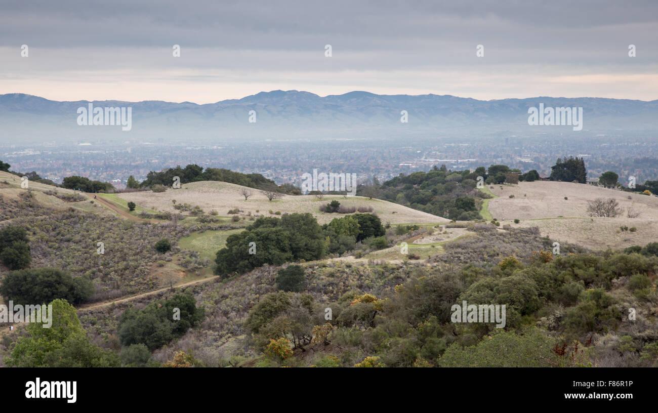 Ampie vedute della South Bay Area da Fremont vecchi preservare. Immagini Stock