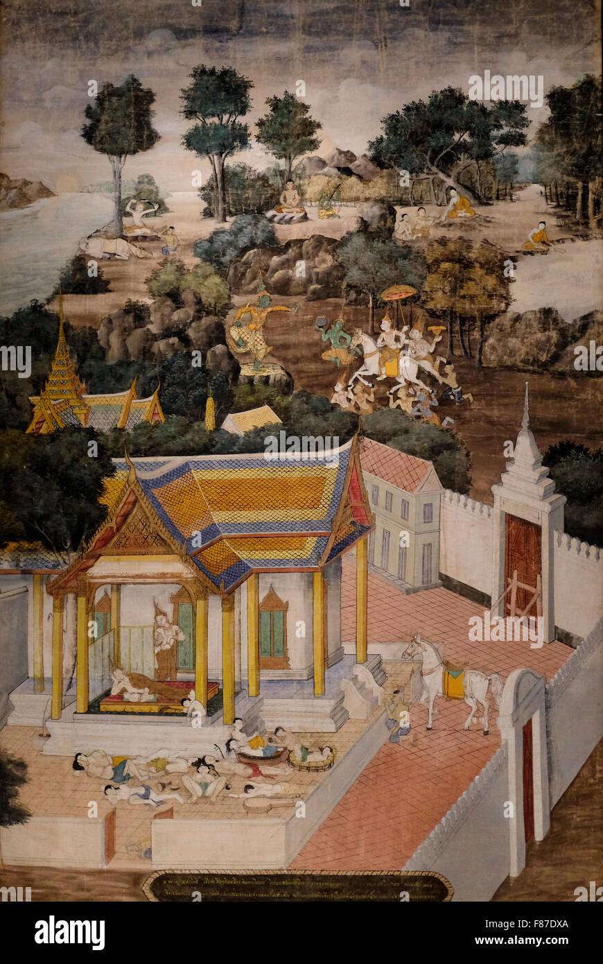 La vita di Buddha - Thailandia - 1800 Immagini Stock
