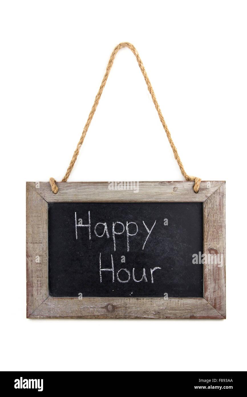 Tafel Holz Happy Hour Immagini Stock