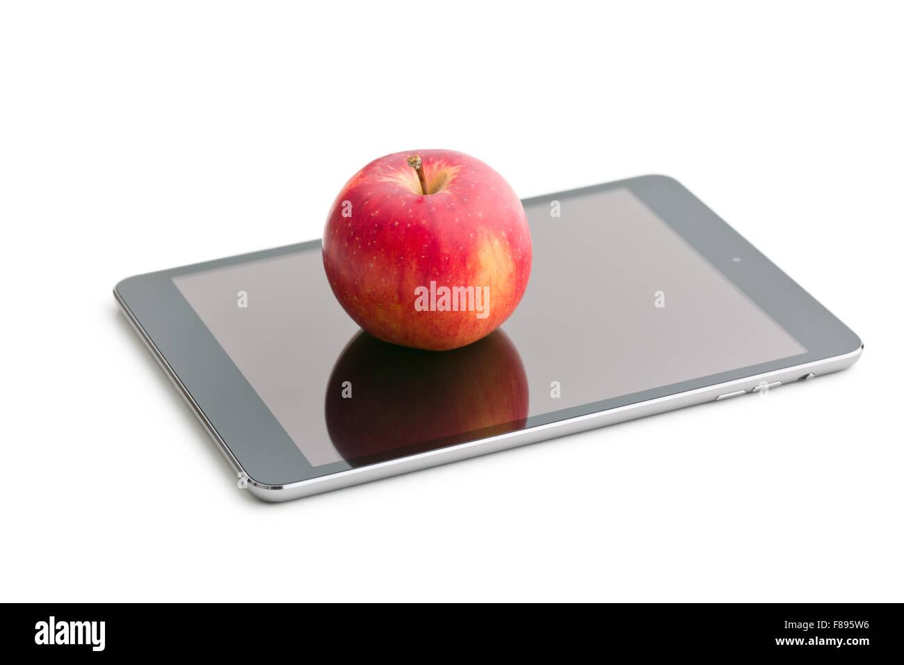 Rosso E Apple Computer Tablet Su Sfondo Bianco Foto Immagine Stock