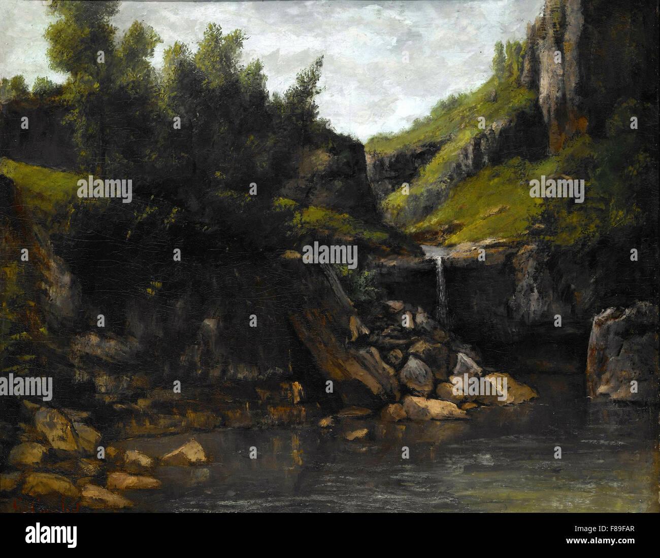 Gustave Courbet - cascata in un paesaggio roccioso Immagini Stock