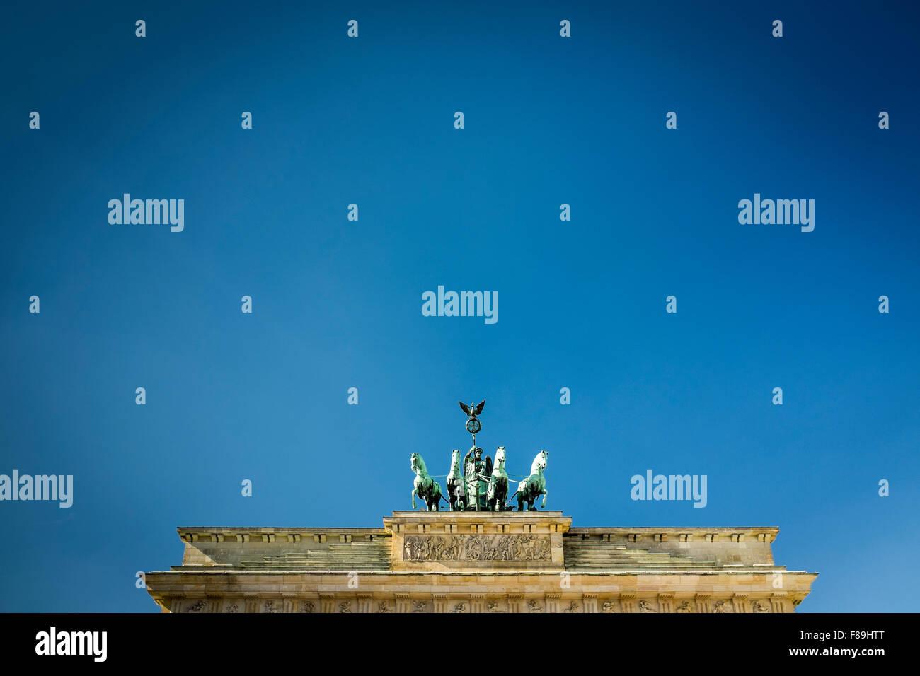 Quadriga sulla Porta di Brandeburgo, Berlino, Germania Immagini Stock