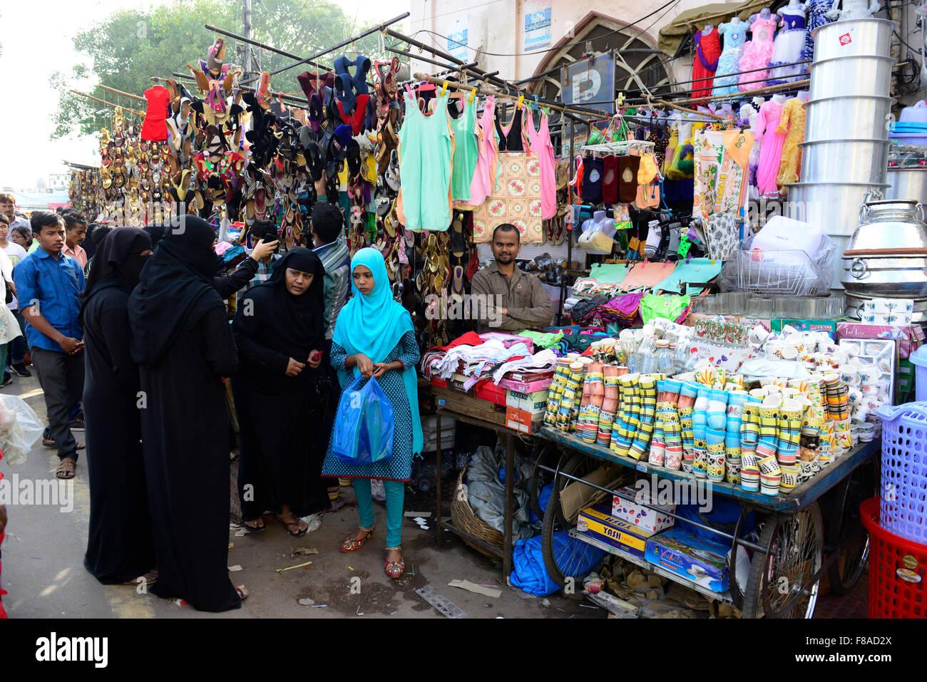 Il vivace bazar di Hyderabad, in India. Immagini Stock
