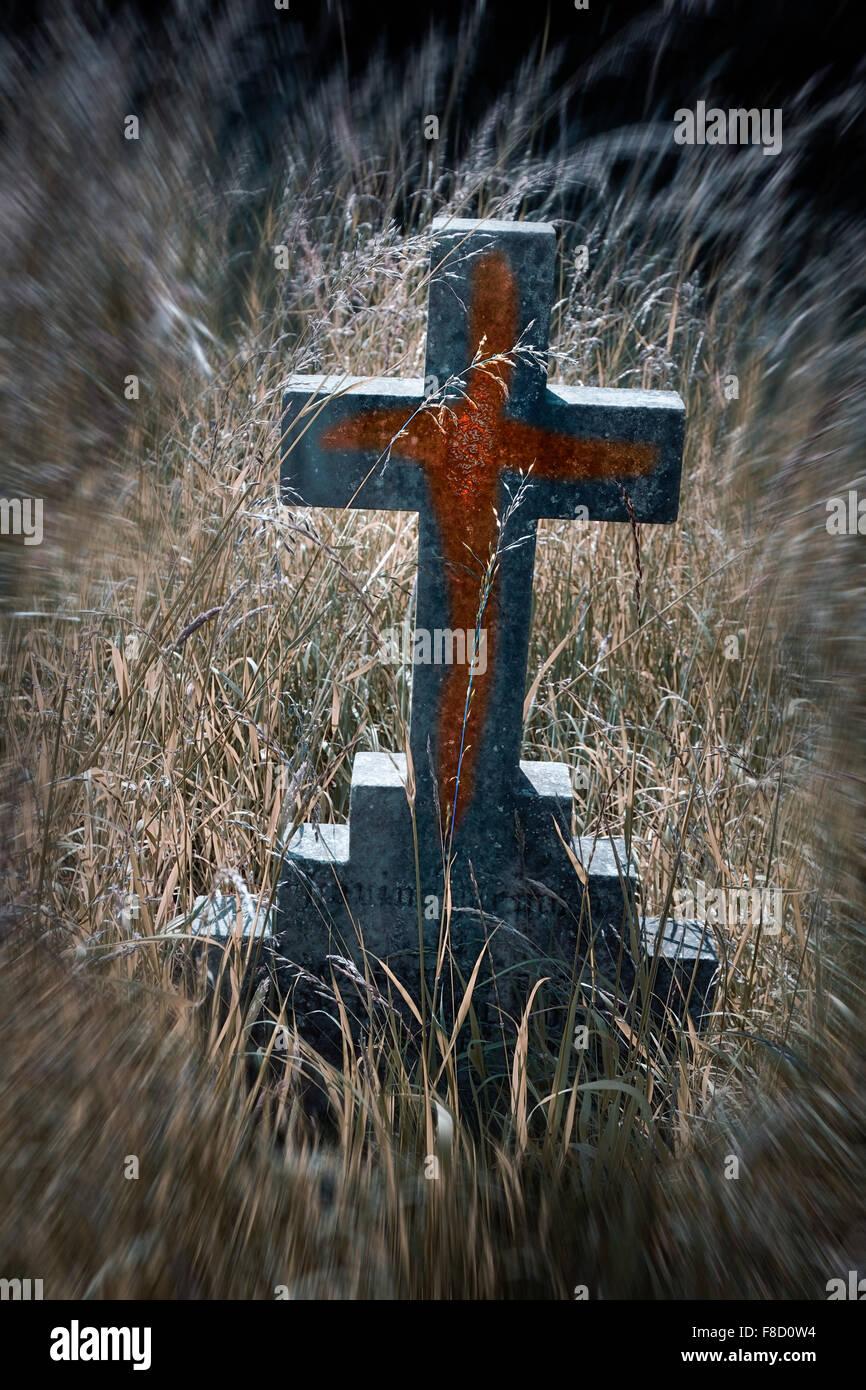 Croce in esecuzione con il sangue Immagini Stock