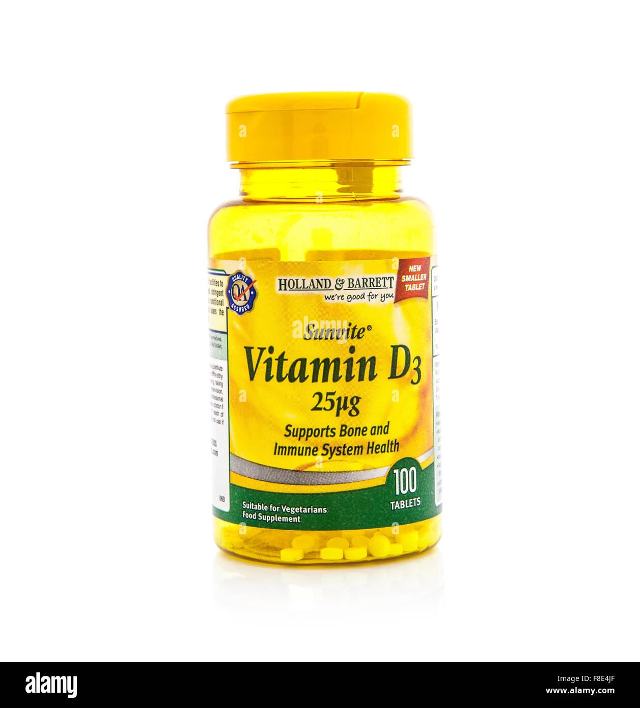 La vitamina D contenitore su sfondo bianco Immagini Stock