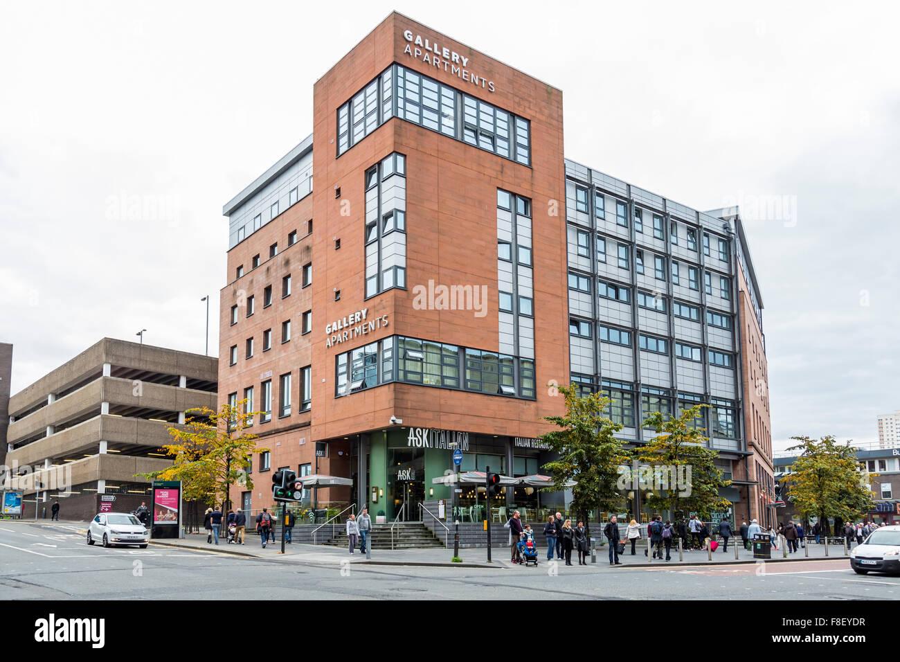Galleria appartamenti alloggi per studenti nel centro della città di Glasgow, Scotland, Regno Unito Foto Stock