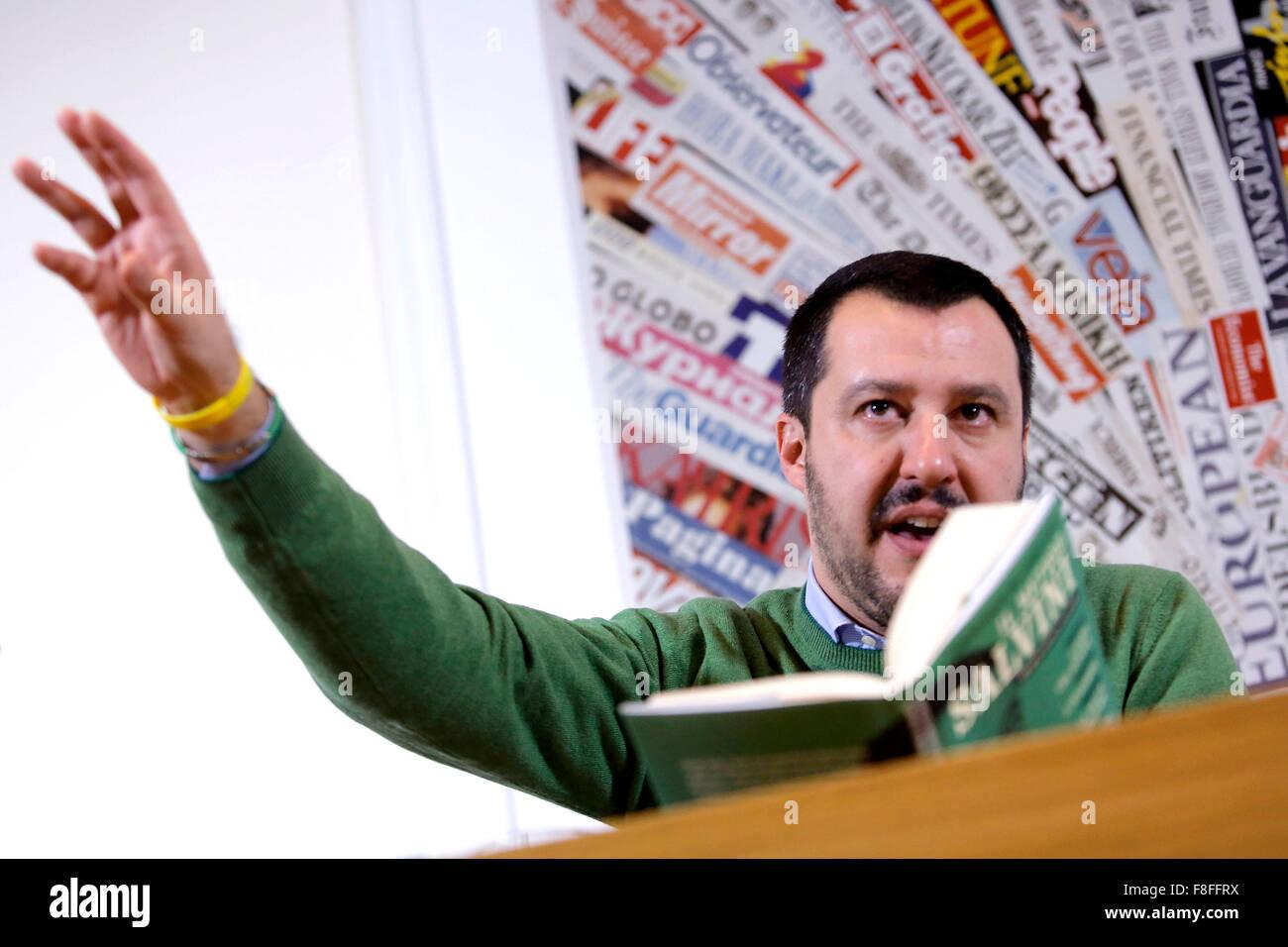 Roma, Italia. 9 dicembre, 2015. Matteo Salvini Roma 09-12-2015 Stampa Estera. Presentazione del libro 'Il metodo Immagini Stock
