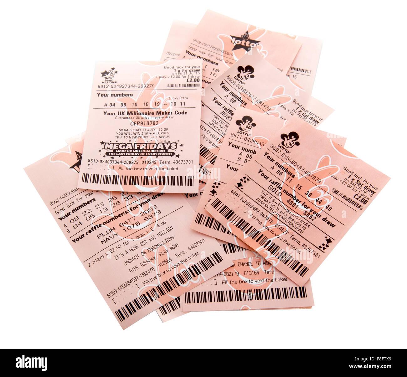 Nuovo e vecchio stile Euromillions e Lotto di biglietti di lottery su sfondo bianco Immagini Stock