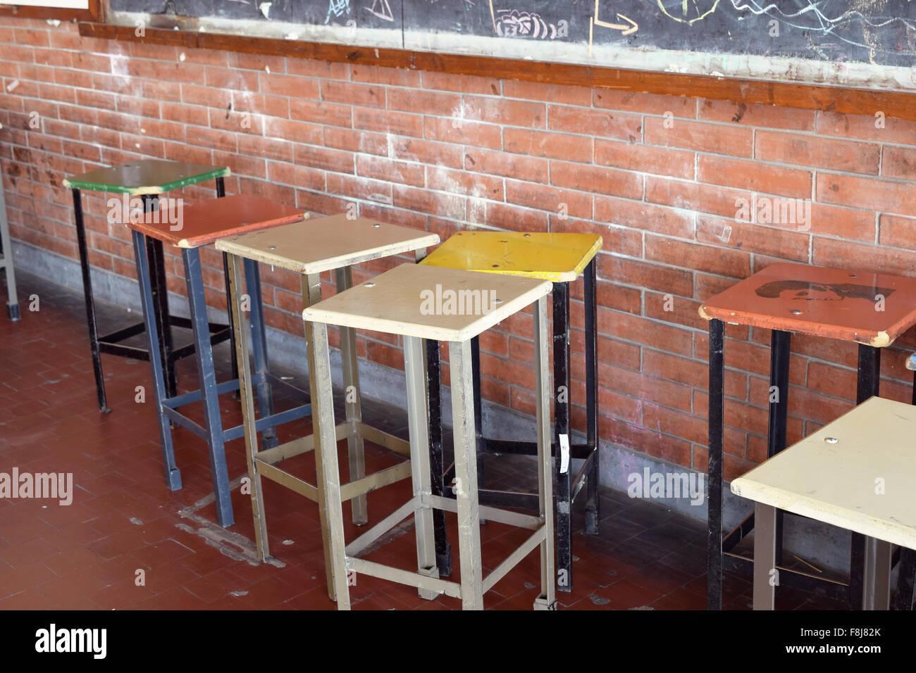Vecchie sedie per bar in una scuola d arte alte sedie e sgabelli